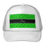 Modelo verde de neón conocido personalizado de los gorras de camionero