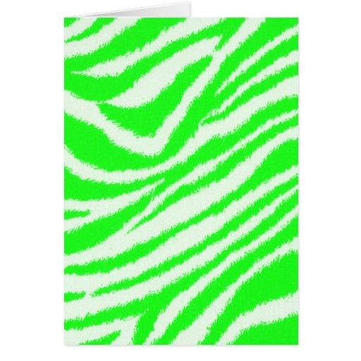 Modelo verde de neón de la cebra tarjeta de felicitación
