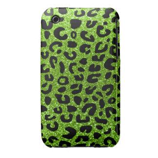 Modelo verde de neón de la impresión del guepardo iPhone 3 Case-Mate fundas