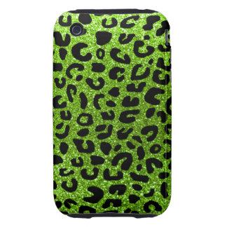 Modelo verde de neón de la impresión del guepardo iPhone 3 tough cobertura