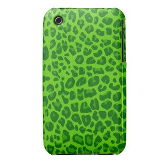 Modelo verde de neón del estampado leopardo iPhone 3 cobertura