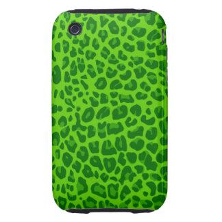Modelo verde de neón del estampado leopardo iPhone 3 tough coberturas