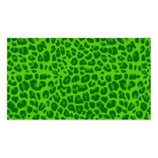 Modelo verde de neón del estampado leopardo plantilla de tarjeta de visita