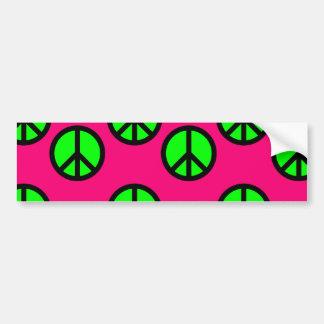 Modelo verde de neón del Hippie del signo de la pa Pegatina De Parachoque