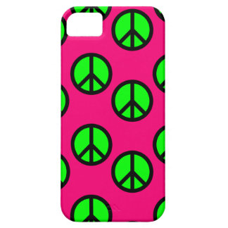 Modelo verde de neón del Hippie del signo de la pa iPhone 5 Case-Mate Fundas