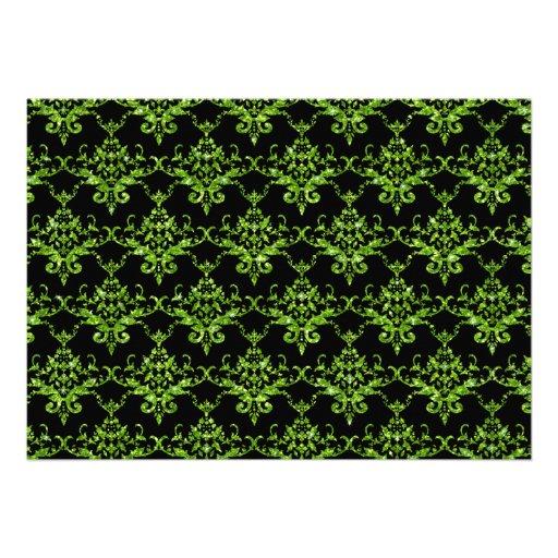 Modelo verde de neón negro del damasco del brillo anuncios