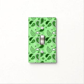 Modelo verde de Paisley con el monograma Cubiertas Para Interruptor