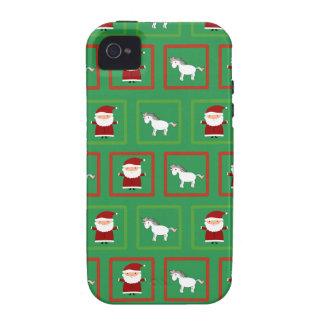 Modelo verde de Papá Noel de los unicornios iPhone 4/4S Carcasa
