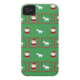 Modelo verde de Papá Noel de los unicornios iPhone 4 Case-Mate Funda
