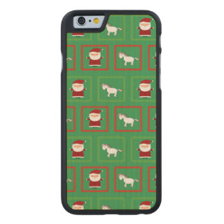 Modelo verde de Papá Noel de los unicornios Funda De iPhone 6 Carved® Slim De Arce