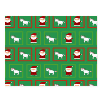 Modelo verde de Papá Noel de los unicornios Tarjetas Postales