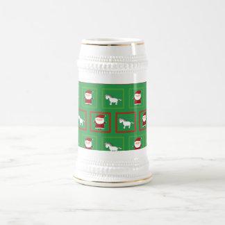Modelo verde de Papá Noel de los unicornios Jarra De Cerveza