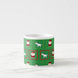 Modelo verde de Papá Noel de los unicornios Taza Espresso