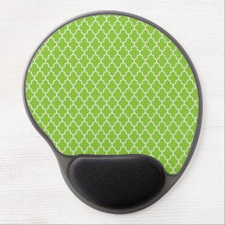 Modelo verde de Quatrefoil de la alegría del día d Alfombrillas De Ratón Con Gel