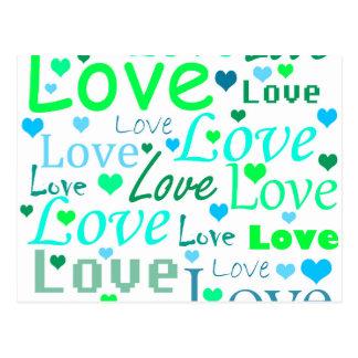 Modelo verde del amor postales