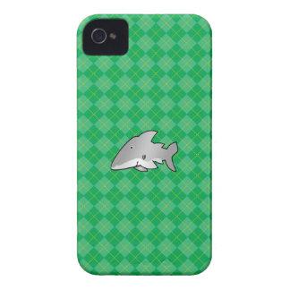 Modelo verde del argyle del tiburón iPhone 4 Case-Mate coberturas