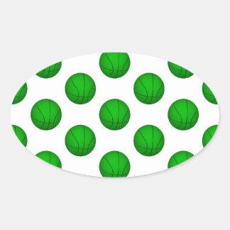 Modelo verde del baloncesto pegatina óval personalizadas