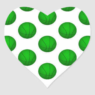 Modelo verde del baloncesto pegatina corazon personalizadas