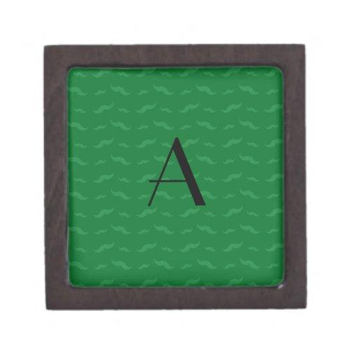 Modelo verde del bigote del monograma caja de joyas de calidad