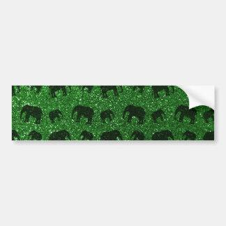 Modelo verde del brillo del elefante etiqueta de parachoque