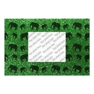Modelo verde del brillo del elefante cojinete