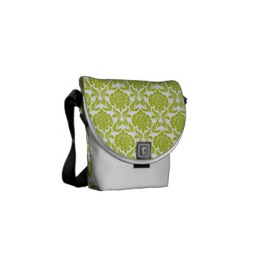 Modelo verde del damasco bolsas de mensajeria