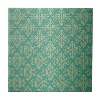 Modelo verde del damasco de Veridian Azulejo Cuadrado Pequeño