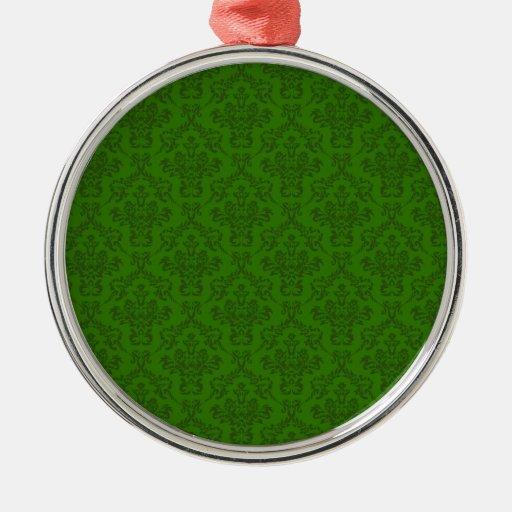 Modelo verde del damasco ornamento para arbol de navidad