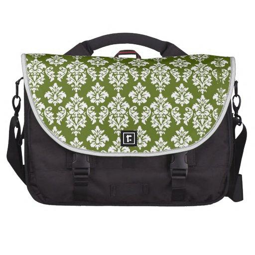 Modelo verde del damasco del vintage bolsas para portatil