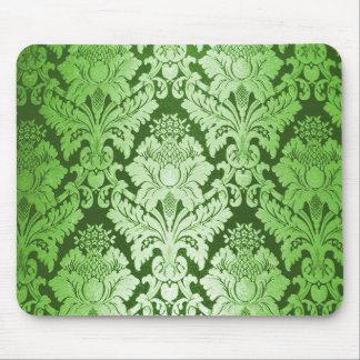 Modelo verde del damasco tapetes de ratón