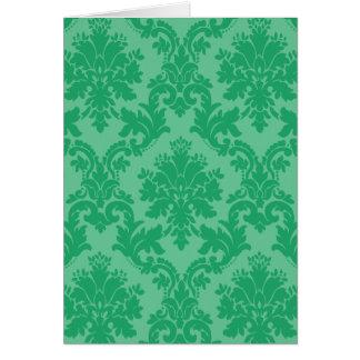 Modelo verde del damasco tarjeta de felicitación