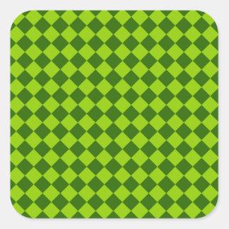 Modelo verde del diamante de la combinación pegatina cuadrada