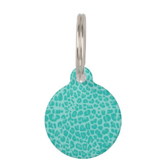 Modelo verde del estampado leopardo de Seafoam Placas Para Mascotas
