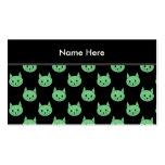 Modelo verde del gato tarjetas de visita