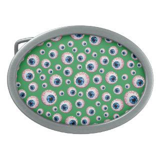 Modelo verde del globo del ojo hebillas de cinturón ovales