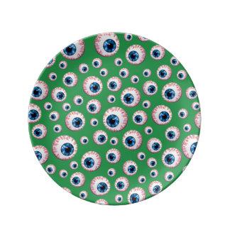 Modelo verde del globo del ojo platos de cerámica