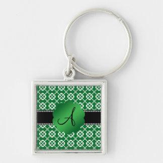 Modelo verde del ornamental de los corazones del m llaveros