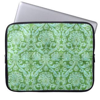 Modelo verde del papel pintado floral del damasco fundas ordendadores