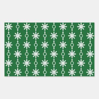 Modelo verde del trébol de las flores y de los pegatina rectangular