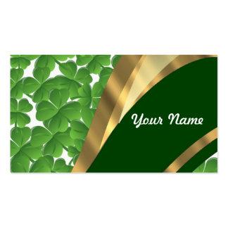 Modelo verde del trébol tarjetas de visita