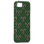 Modelo verde dulce lindo de la tela escocesa de lo iPhone 5 protectores