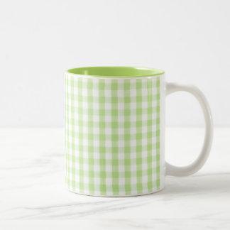 Modelo verde en colores pastel de la guinga tazas de café