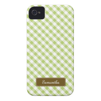 Modelo verde en colores pastel lindo de la guinga iPhone 4 Case-Mate protector