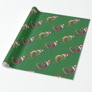 Modelo verde festivo de TRex de cabezas y de las Papel De Regalo