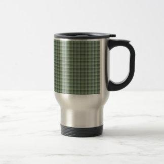 Modelo verde inconsútil de la teja en el caso del taza de viaje de acero inoxidable