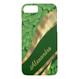 Modelo verde irlandés personalizado del trébol funda iPhone 7