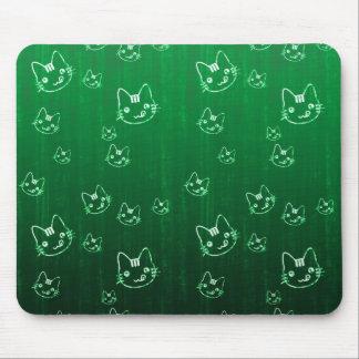 Modelo verde japonés lindo fresco del neko del gat alfombrillas de raton