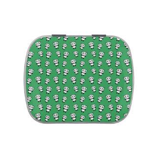 Modelo verde lindo de la panda frascos de caramelos