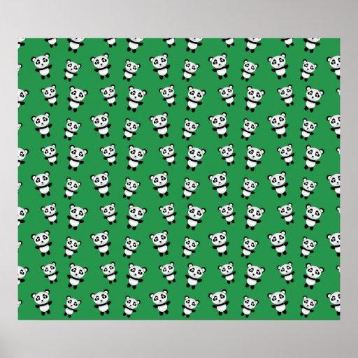 Modelo verde lindo de la panda poster