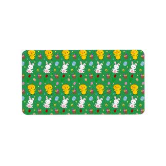 Modelo verde lindo de pascua de la cesta del huevo etiquetas de dirección